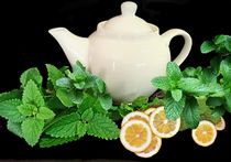 photo of a white teapot surrounddd by green lemon balm leaves and a few halved lemons
