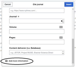 Pop-up displayed when you choose to cite a journal