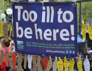 Too ill to be here banner with footprint sized pieces of paper with handwritten messages from those too ill to go.
